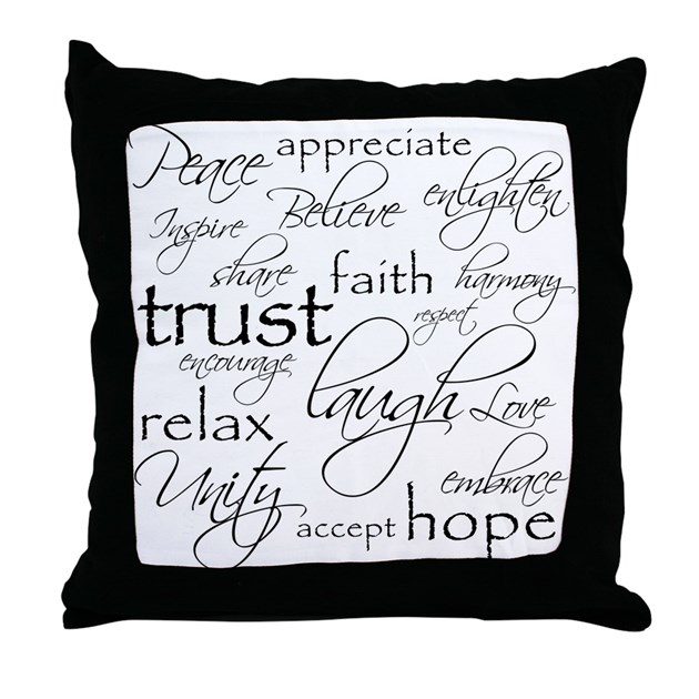 Throw Pillows With Words On Them : POSITIVE WORDS - Throw Pillow by fixtheworld