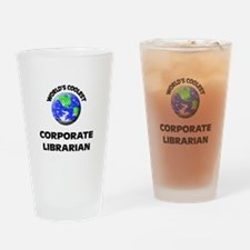 World's Coolest Corporate Librarian Drinking Glass