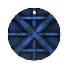 Rusty Shipping Container - blue Ornament (Round)