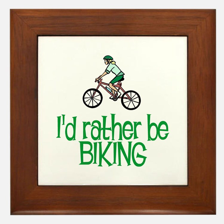 I'd rather be biking Framed Tile