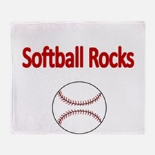 SOFTBALL ROCKS Throw Blanket