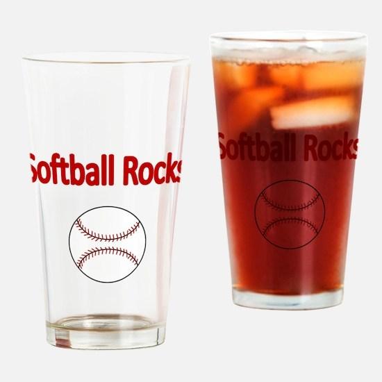 SOFTBALL ROCKS Drinking Glass