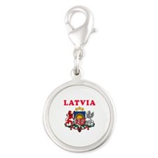 Latvia Coat Of Arms Designs Silver Round Charm