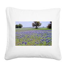 Bluebonnets Square Canvas Pillow