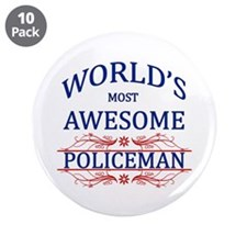 """World's Most Awesome Policeman 3.5"""" Button (10 pac"""