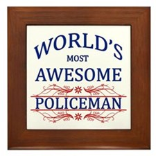 World's Most Awesome Policeman Framed Tile