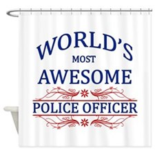 World's Most Awesome Police Officer Shower Curtain