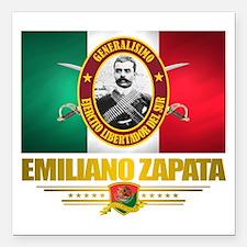 """Emiliano Zapata Square Car Magnet 3"""" x 3"""""""