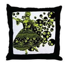 Green Skull Dancer Throw Pillow