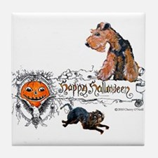 Welsh Terrier Halloween Tile Coaster