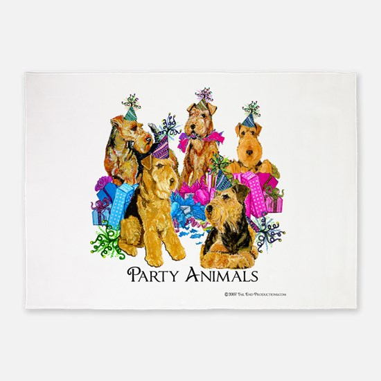 Welsh Terrier Party 5'x7'Area Rug