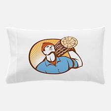 Logger Forester Lumberjack Carry Log Retro Pillow