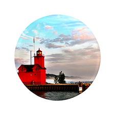 "Holland Harbor Lighthouse II 3.5"" Button"
