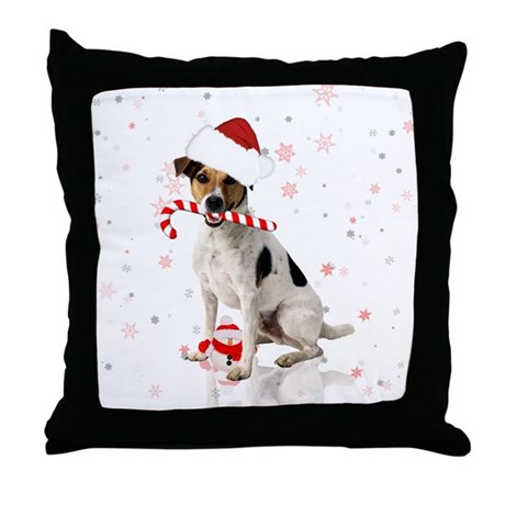Jack Russell Christmas Holiday Throw Pillow