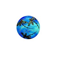 Electric Blue Dragonfly Mini Button
