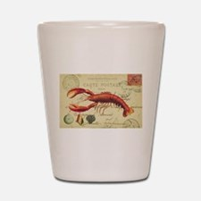 vintage French postcard with lobster Shot Glass