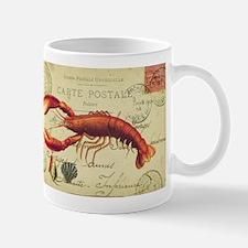 vintage French postcard with lobster Mug