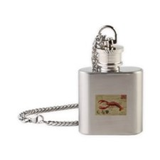 vintage French postcard with lobster Flask Necklac