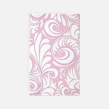 Baby Pink & White Swirls 3'x5' Area Rug