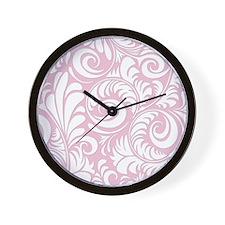 Baby Pink & White Swirls Wall Clock