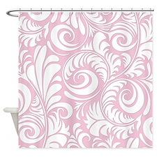 Baby Pink & White Swirls Shower Curtain