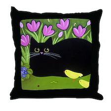Black CAT, Yellow Birds, Pink Flowers Throw Pillow