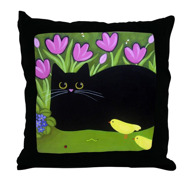 Black CAT, Yellow Birds, Pink Flowers Throw Pillow by wildsunflower