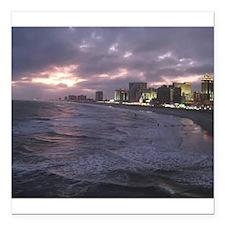 "Sunset in Atlantic City Square Car Magnet 3"" x 3"""