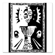 """Djembe mask black and white Square Car Magnet 3"""" x"""