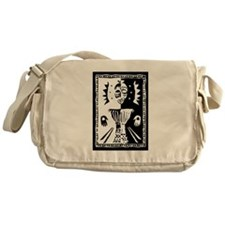 Djembe mask black and white Messenger Bag