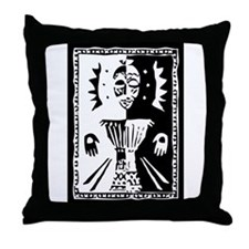 Djembe mask black and white Throw Pillow