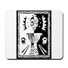 Djembe mask black and white Mousepad