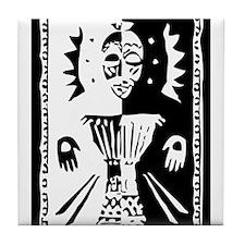 Djembe mask black and white Tile Coaster