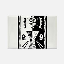 Djembe mask black and white Rectangle Magnet
