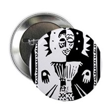 "Djembe mask black and white 2.25"" Button"