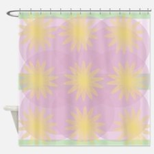 Mauve, Pale Green and Yellow Shower Curtain