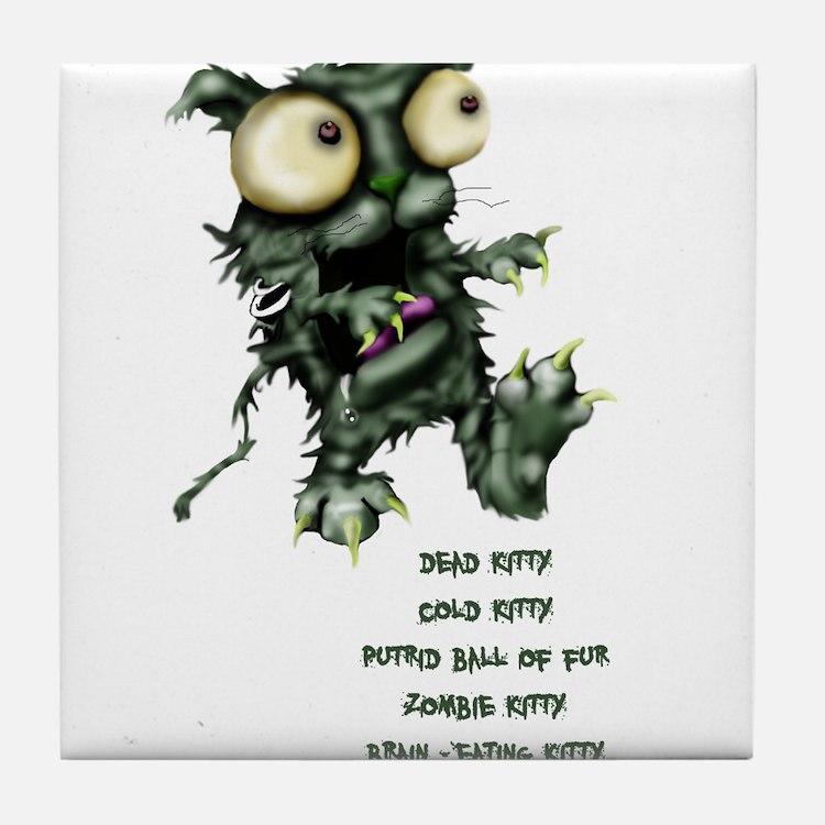 zombie kitty Tile Coaster