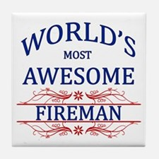 World's Most Awesome Fireman Tile Coaster
