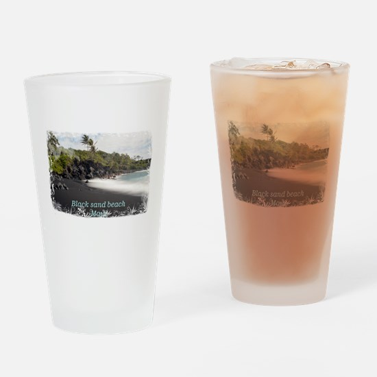Black sand beach Drinking Glass