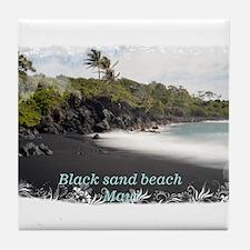 Black sand beach Tile Coaster
