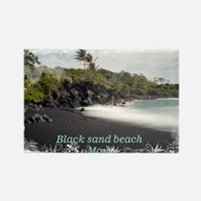 Black sand beach Rectangle Magnet