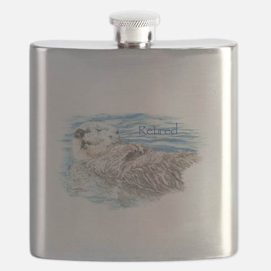 Cute Watercolor Retired Otter Animal Flask