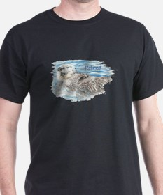 Cute Watercolor Retired Otter Animal T-Shirt