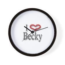 I Heart Becky Wall Clock