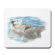 Cute Watercolor Retired Otter Animal Mousepad