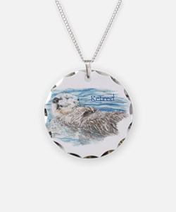 Cute Watercolor Retired Otter Animal Necklace