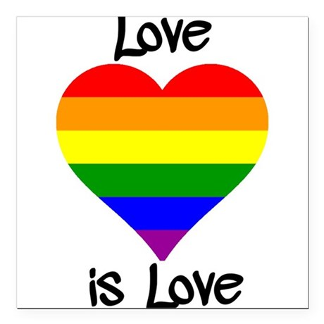 """Love Is Love Square Car Magnet 3"""" x 3"""""""