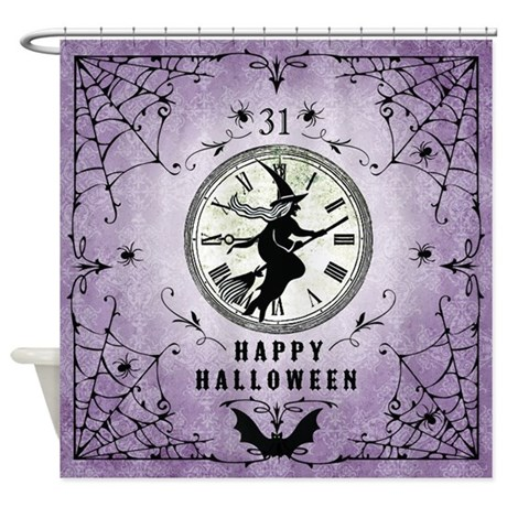Modern Vintage Halloween Witching Hour Shower Curtain