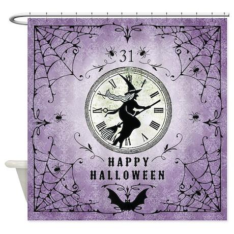 Modern Vintage Halloween Witching Hour Shower Curtain