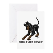 Manchester Terrier - Button Ears Greeting Cards (P
